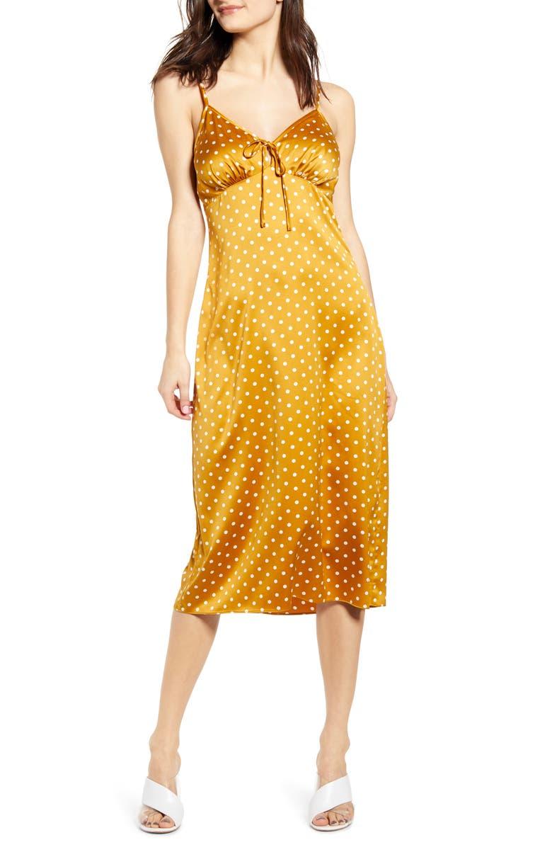 J.O.A. Sleeveless Satin Midi Dress, Main, color, DIJON DOT