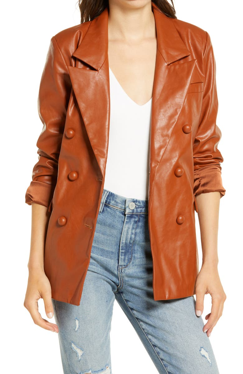 BLANKNYC The Nightingale Faux Leather Blazer, Main, color, WHY NOT