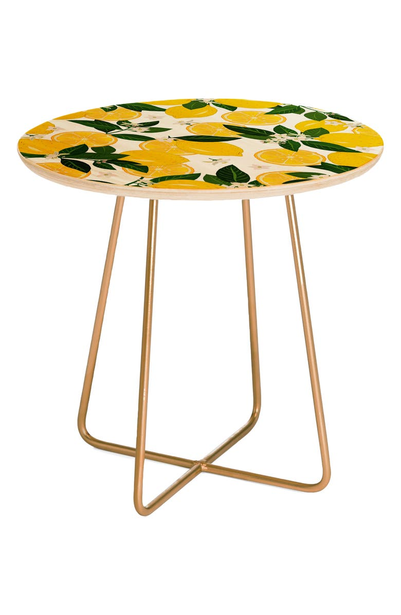 DENY DESIGNS Punch Side Table, Main, color, YELLOW