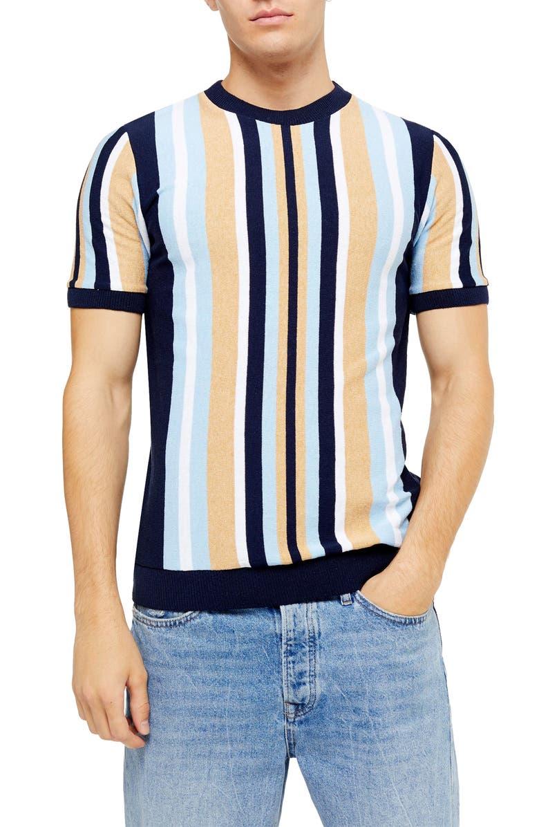 TOPMAN Slim Fit Stripe Short Sleeve Sweater, Main, color, 001