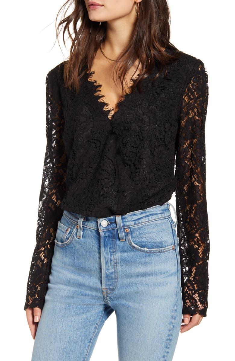 WAYF x Influencers Long Sleeve Lace Bodysuit, Main, color, BLACK