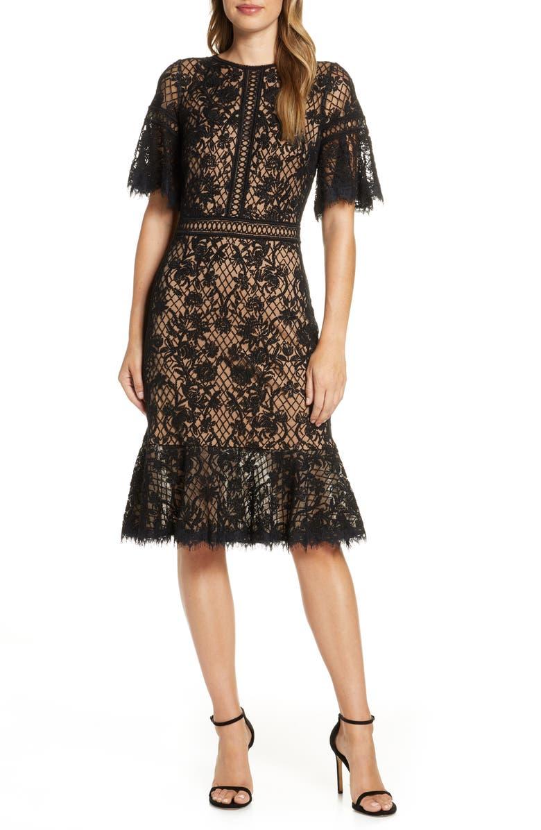 TADASHI SHOJI Embroidered Mesh Dress, Main, color, BLACK/ NUDE