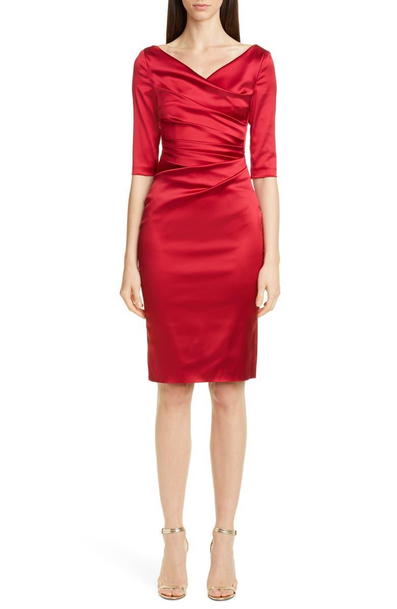 TALBOT RUNHOF Stretch Duchess Satin Sheath Dress, Main, color, SCARLET
