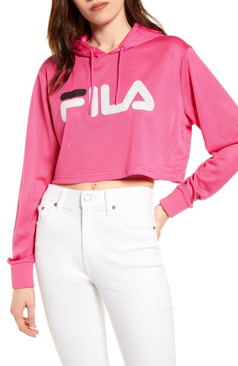 FILA Noemi Crop Hoodie, Main, color, MAGENTA/ WHITE/ BLACK