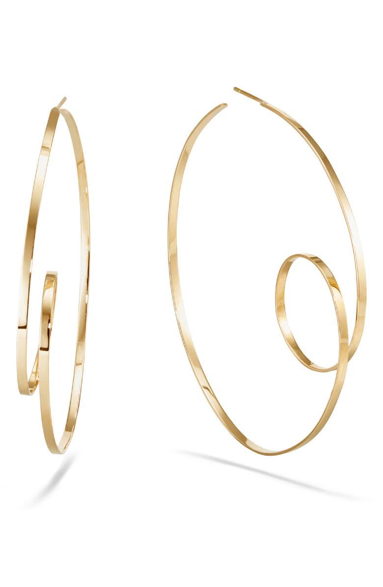 LANA JEWELRY Casino Mega Loop Hoop Earrings, Main, color, YELLOW GOLD