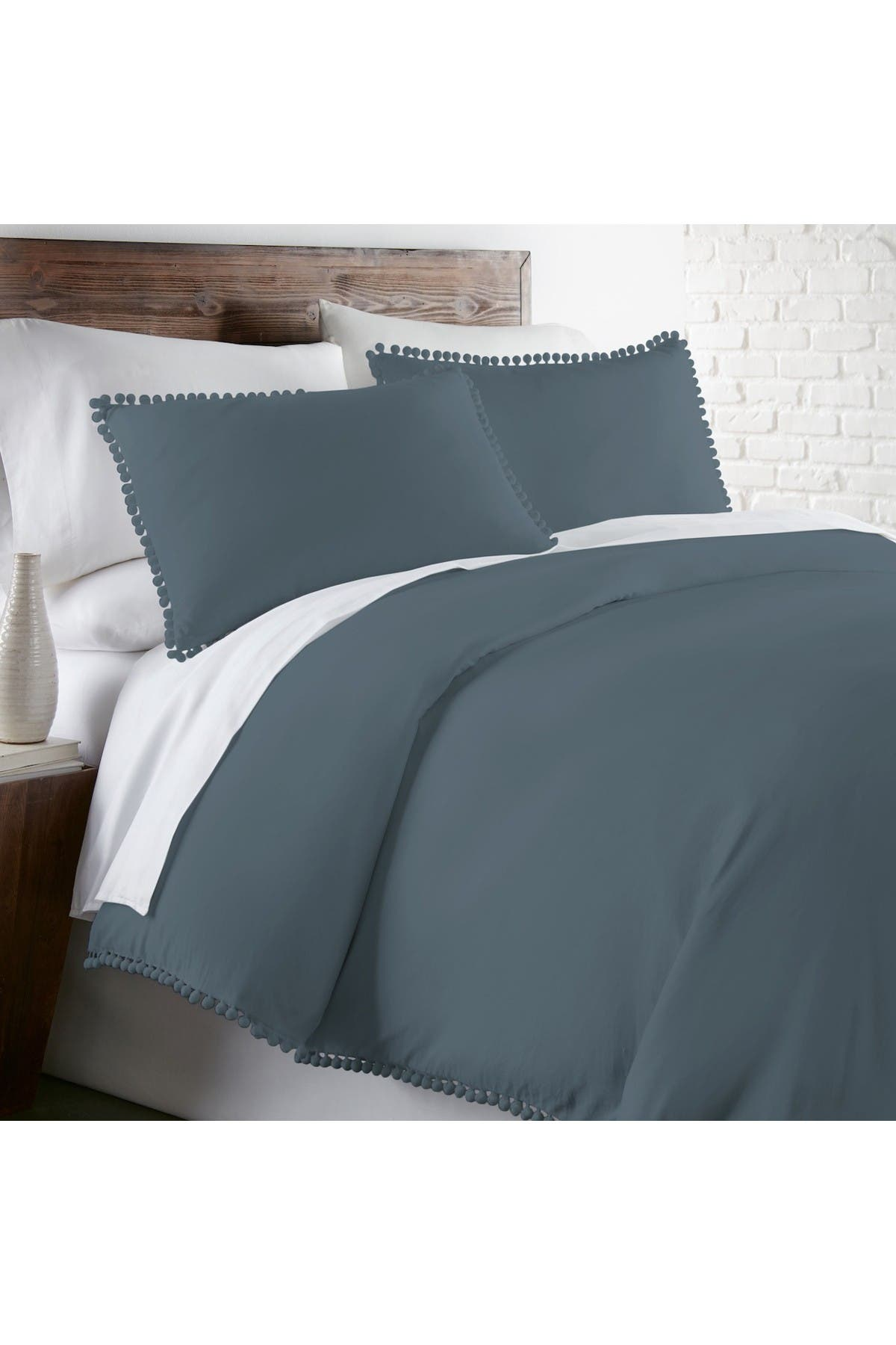 Image of SOUTHSHORE FINE LINENS Classic Duvet Cover Set with Pre-Washed Fabric and Pom Pom Decorative Trim - Full/Queen