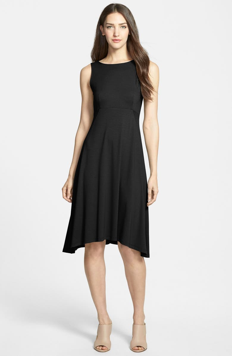 EILEEN FISHER Jersey Bateau Neck Fit & Flare Dress, Main, color, 001