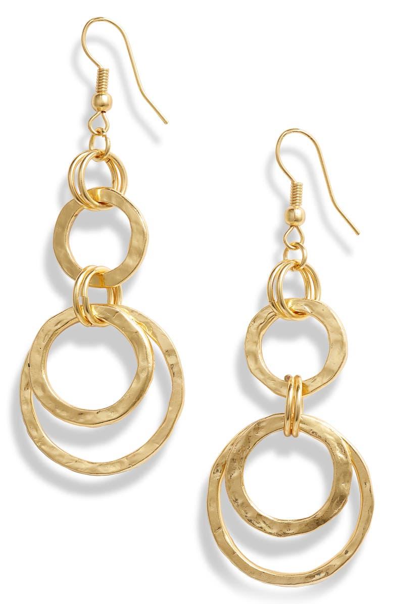KARINE SULTAN Hoop Drop Earrings, Main, color, GOLD