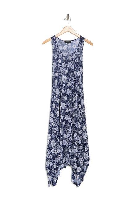 Image of Papillon Tropical Floral Handkerchief Hem Midi Dress
