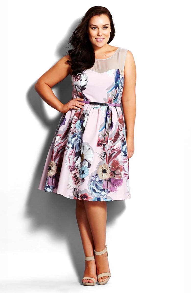 CITY CHIC 'Dusty Rose' Fit & Flare Dress, Main, color, 657