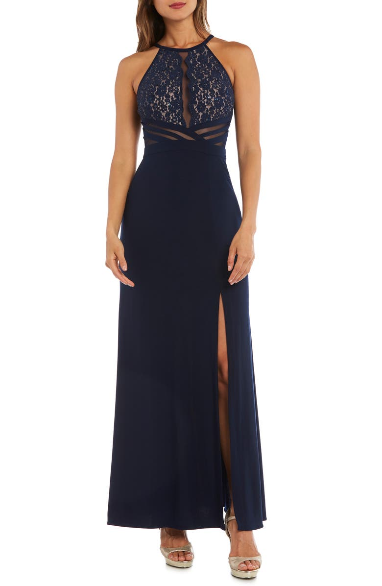 MORGAN & CO. Lace & Illusion Mesh Bodice Gown, Main, color, NAVY/ NUDE