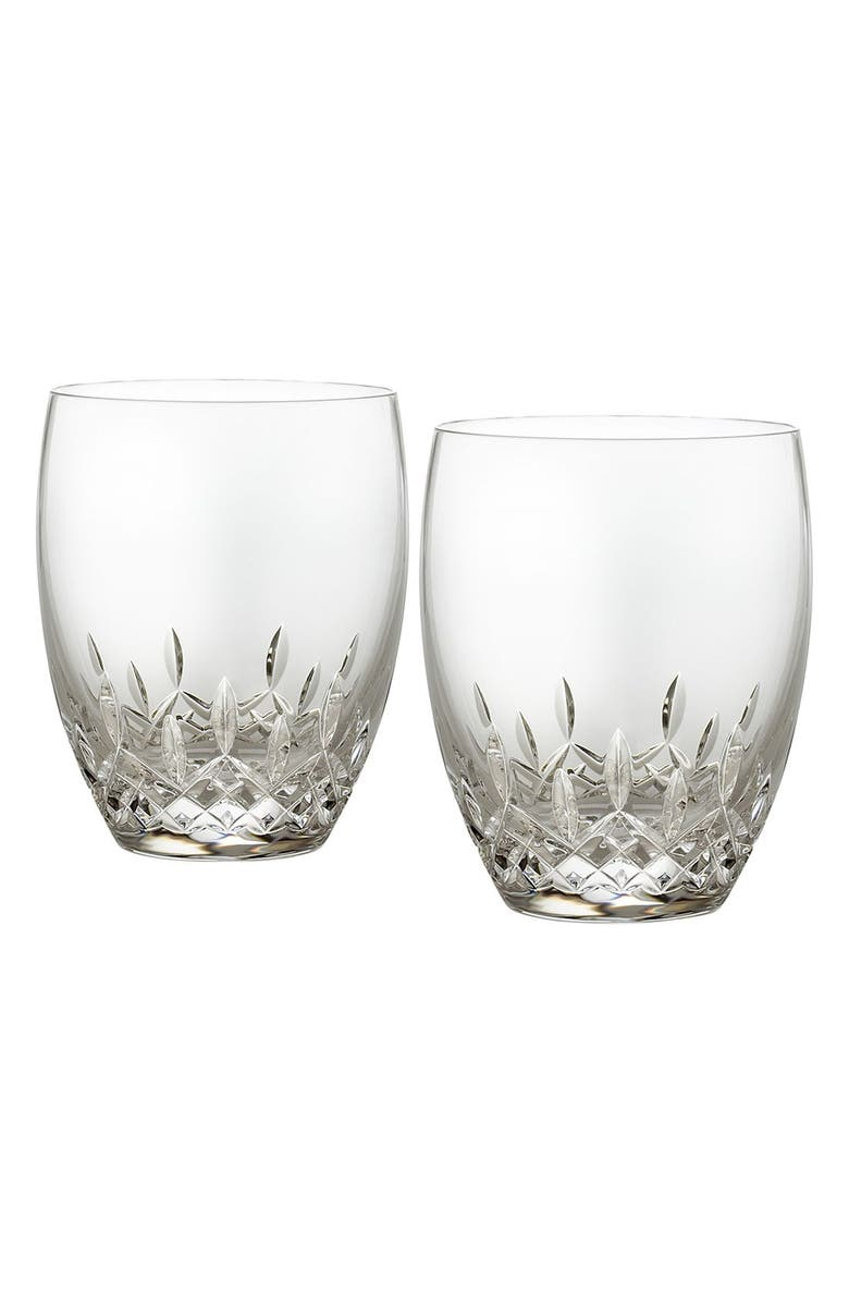 WATERFORD 'Lismore Essence' Lead Crystal Double Old-Fashioned Glasses, Main, color, CLEAR