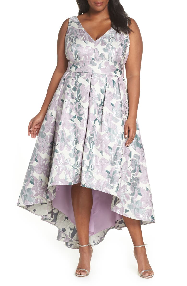 Eliza J Floral Jacquard High/Low Evening Dress (Plus Size ...