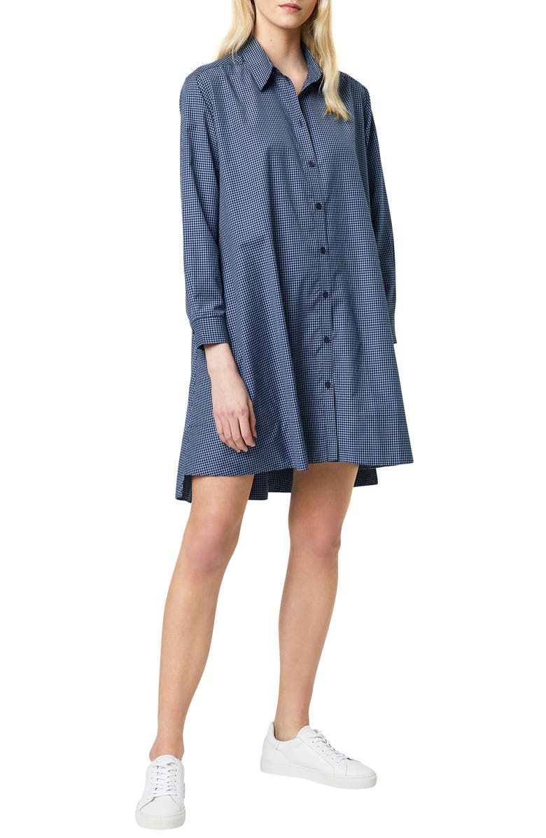 FRENCH CONNECTION Mattia Check Long Sleeve Shirtdress, Main, color, UTILITY BLUE/ SUMMER WHITE