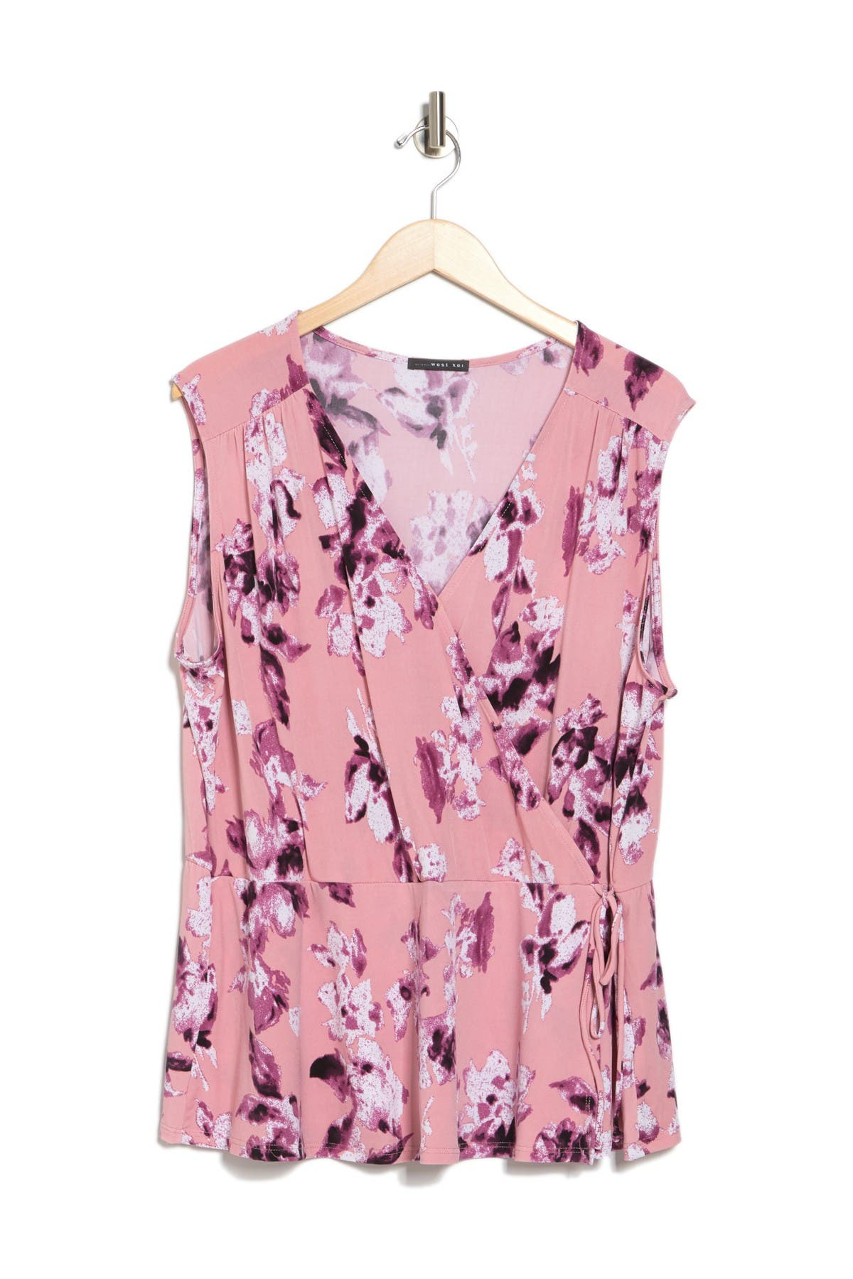 Image of TUA Floral Faux Wrap Sleeveless Top
