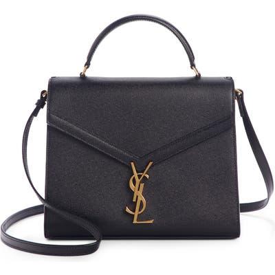 Saint Laurent Medium Cassandra Calfskin Leather Satchel - Black