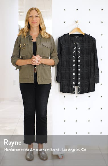 Faux Leather Lace-Up Knit Jacket, sales video thumbnail