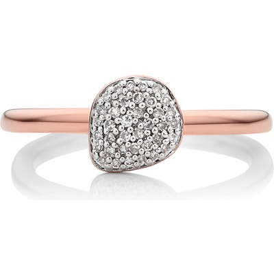 Monica Vinader Nura Mini Diamond Pave Pebble Stacking Ring