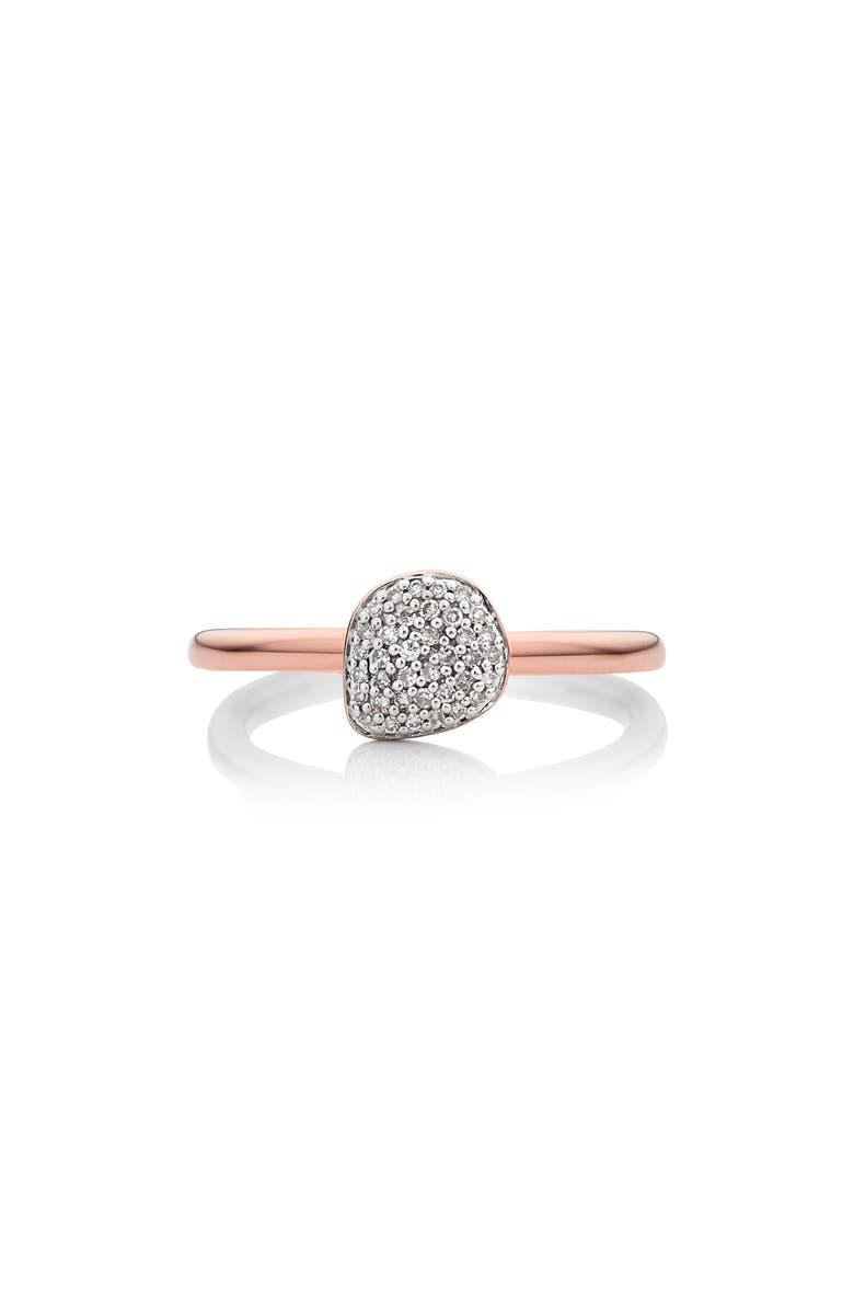 MONICA VINADER Nura Mini Diamond Pavé Pebble Stacking Ring, Main, color, ROSE GOLD/ DIAMOND
