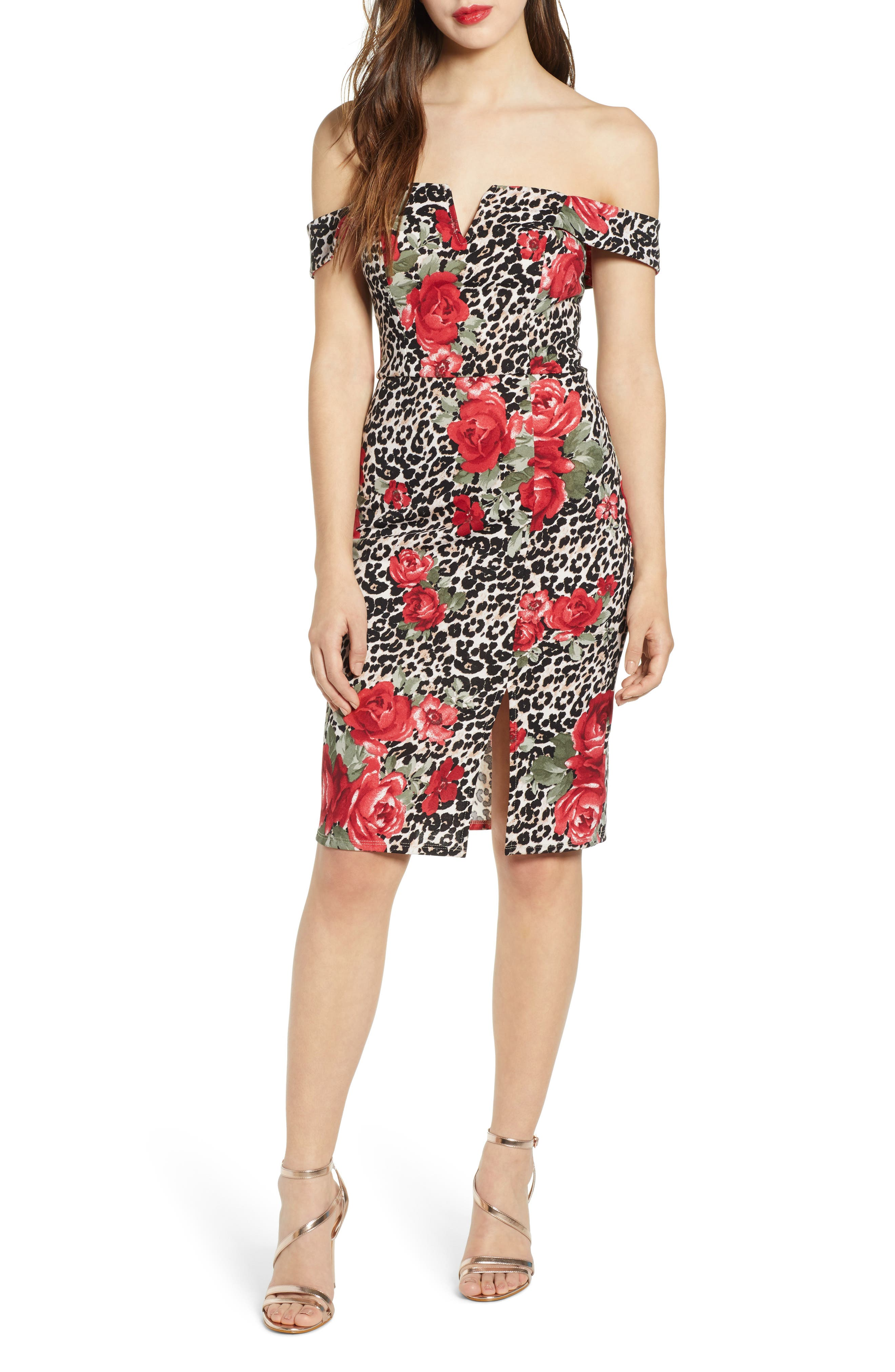 Mix Print Off the Shoulder Midi Dress, Main, color, IVORY RED