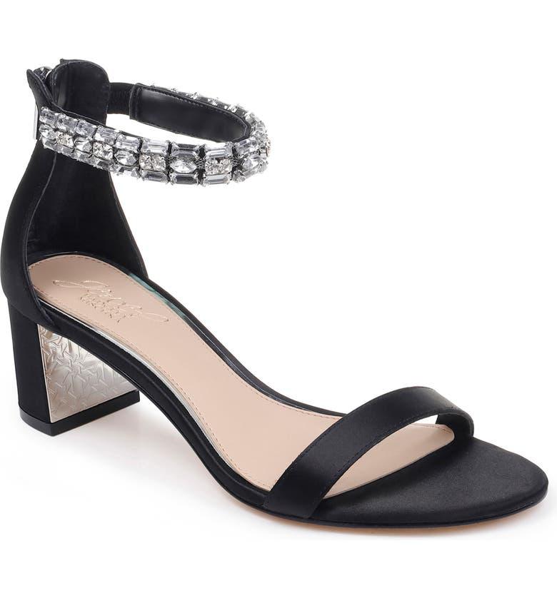 JEWEL BADGLEY MISCHKA Katerina Ankle Strap Sandal, Main, color, BLACK CRYSTAL SATIN