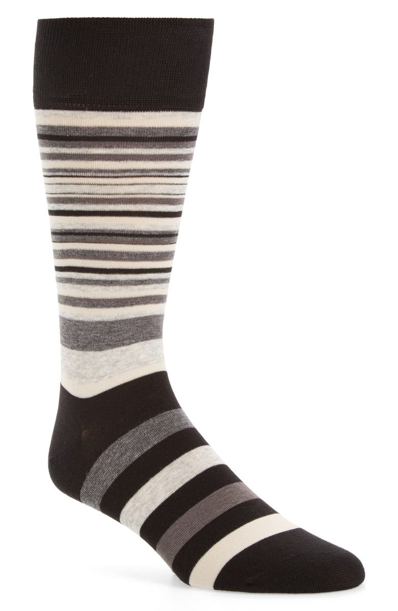 COLE HAAN Town Stripe Crew Socks, Main, color, BLACK/ STORM CLOUD