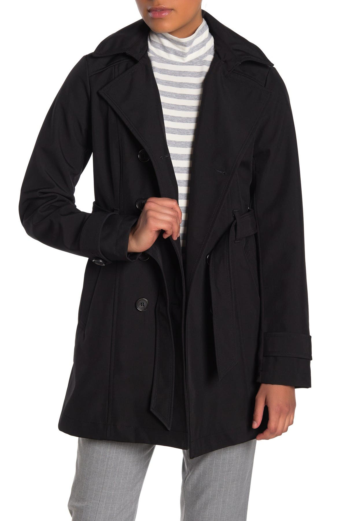 Image of Sebby Soft Shell Double Breast Water Resistant Trench Coat