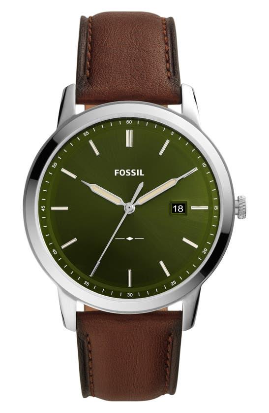 FOSSIL MINIMALIST SOLAR LEATHER STRAP WATCH, 42MM