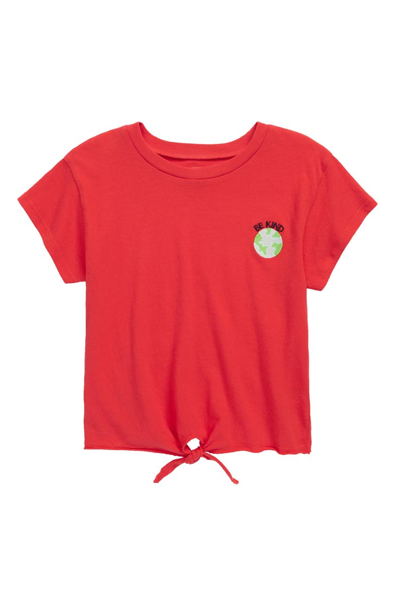 TUCKER + TATE Tie Front Logo Tee, Main, color, RED BITTERSWEET BE KIND