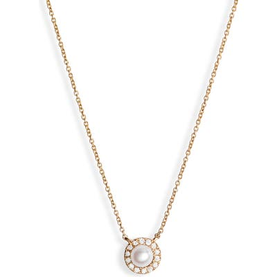Dana Rebecca Designs Halo Pave Diamond & Pearl Pendant Necklace