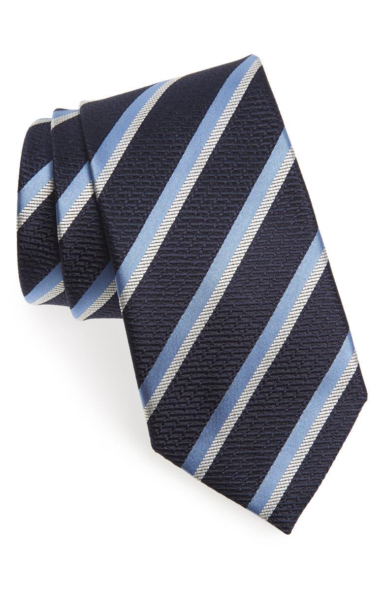 ERMENEGILDO ZEGNA Stripe Silk Tie, Main, color, NAVY STRIPE