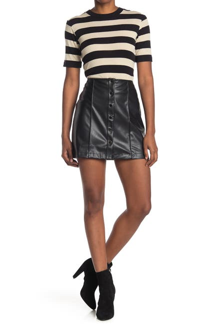 Image of David Lerner Piper A-Line Pintuck Snap Front Skirt
