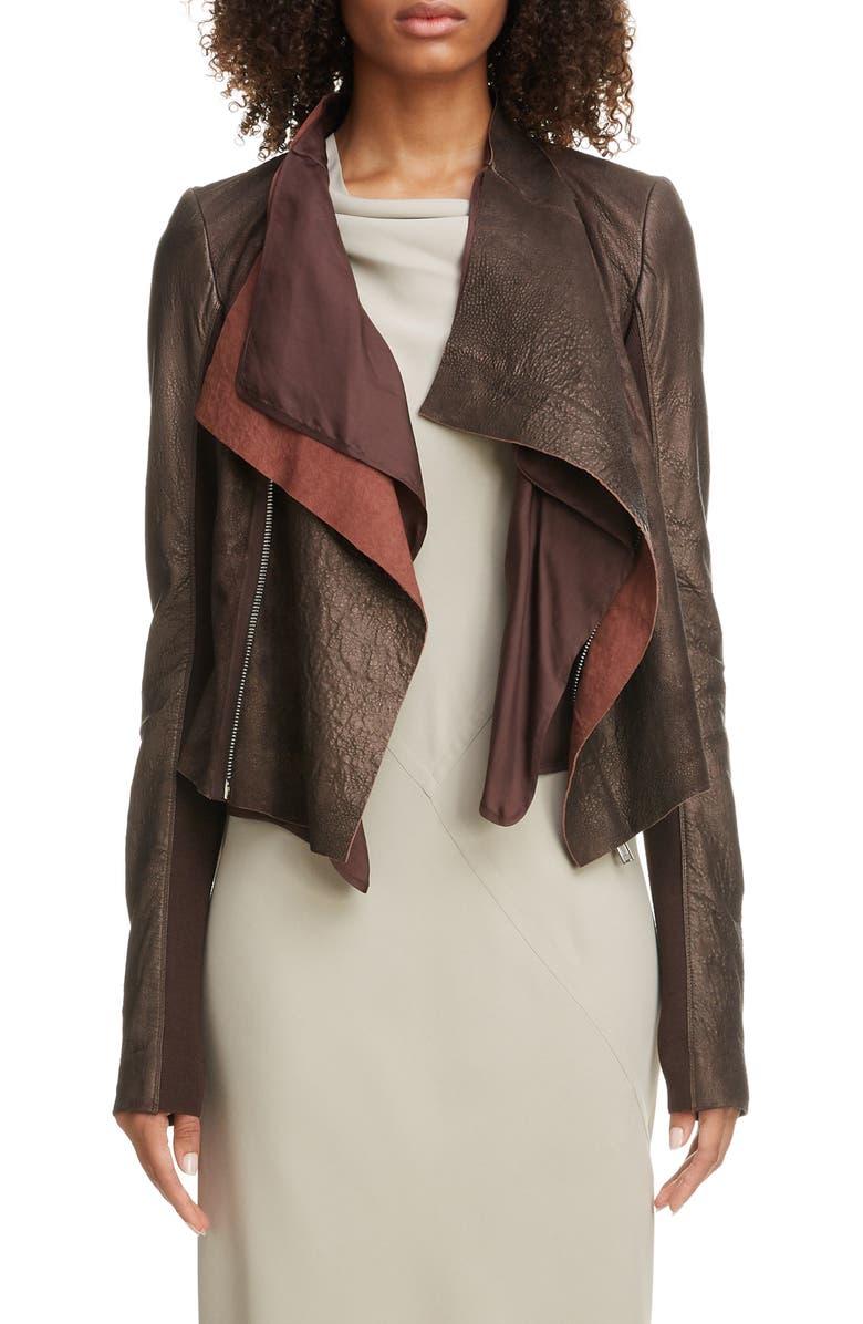 RICK OWENS Drape Leather Jacket, Main, color, 84 BRONZE