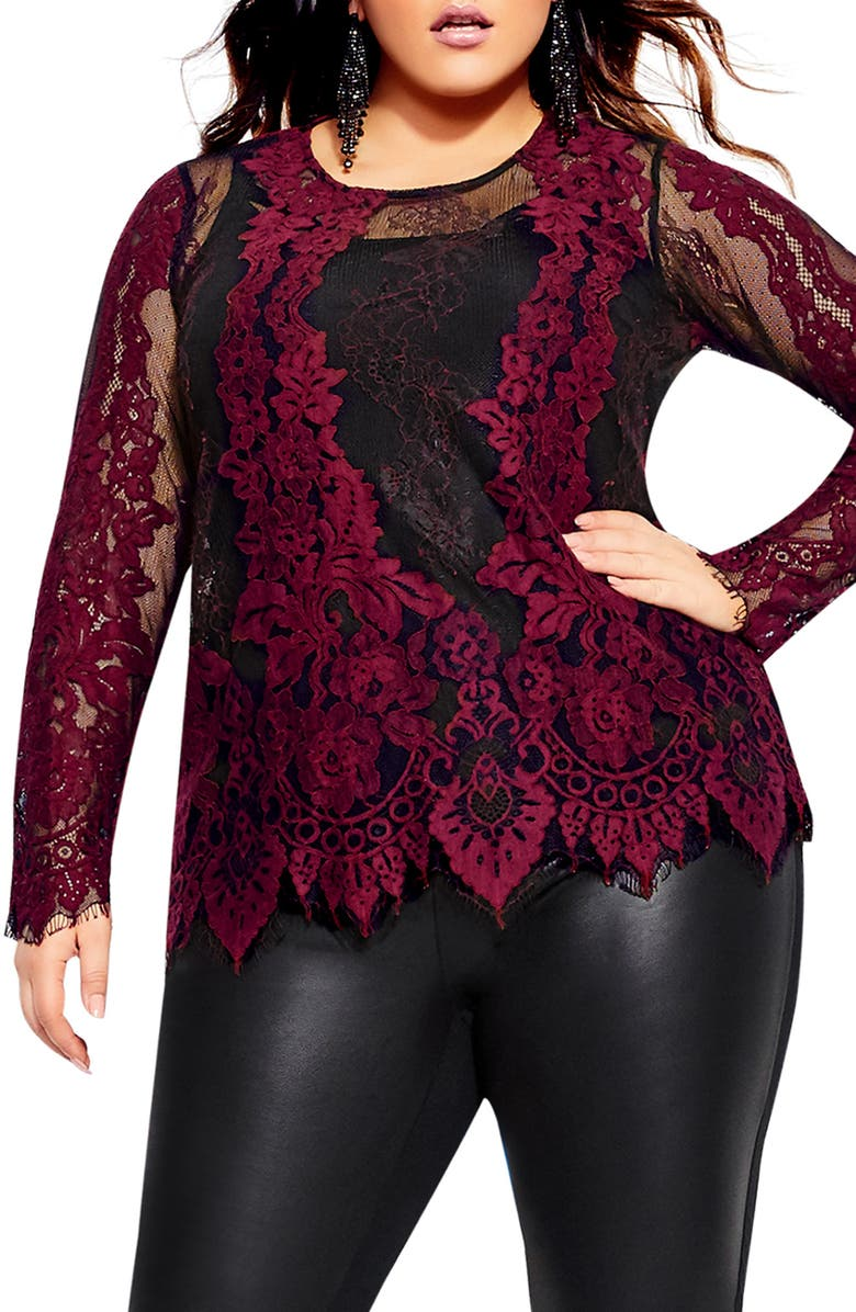 CITY CHIC Lace Blouse, Main, color, RUBY