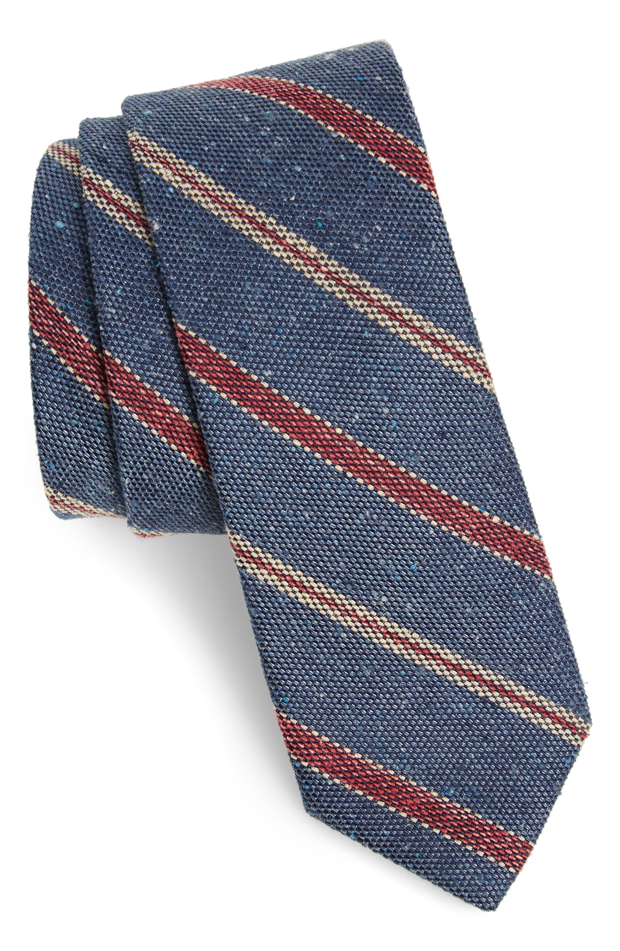 1920s Bow Ties | Gatsby Tie,  Art Deco Tie Mens The Tie Bar Cargo Stripe Silk Tie Size Regular - Blue $19.00 AT vintagedancer.com