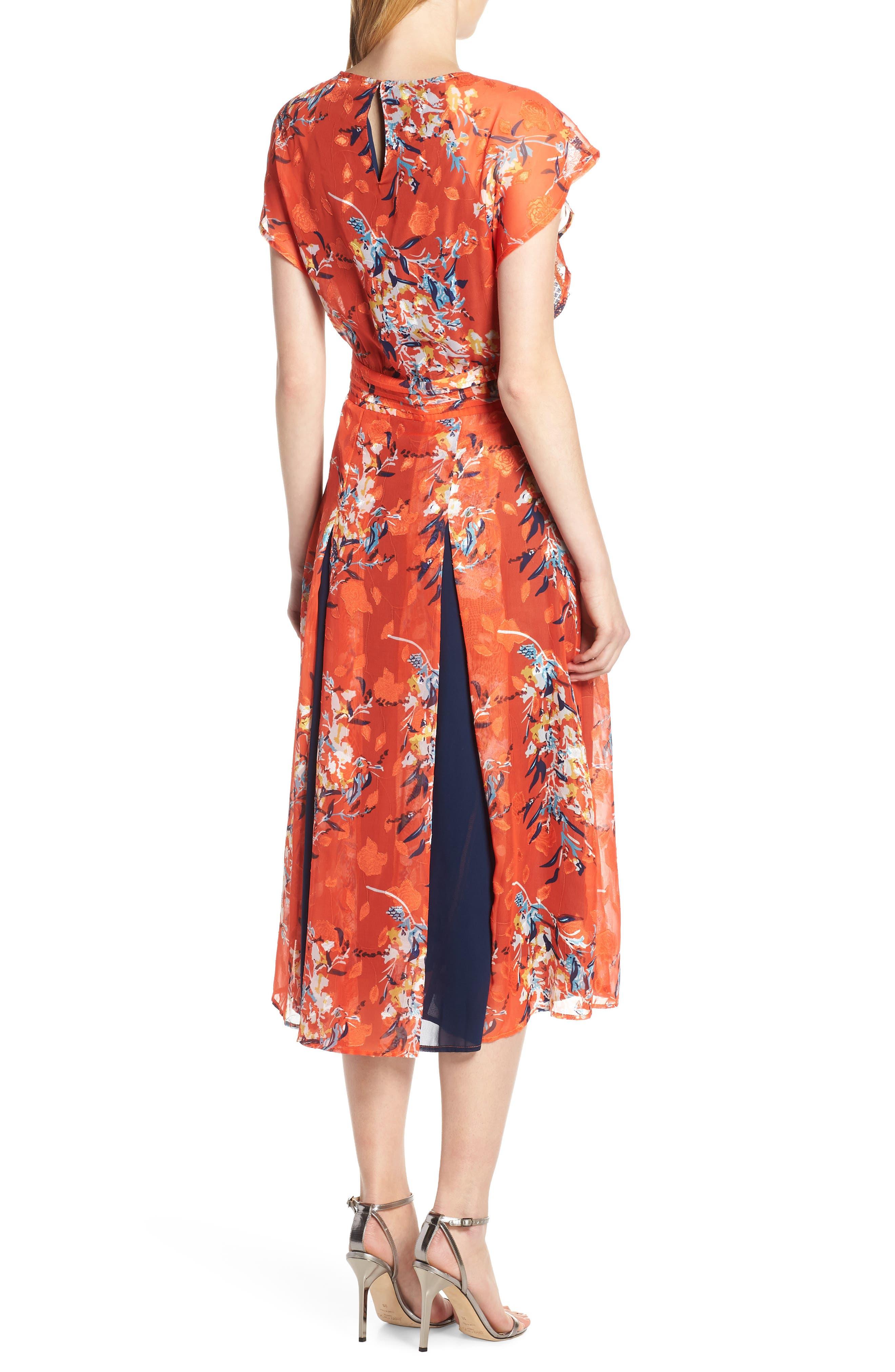 ,                             Olena Godet Flared Dress,                             Alternate thumbnail 2, color,                             ORANGE MULTI