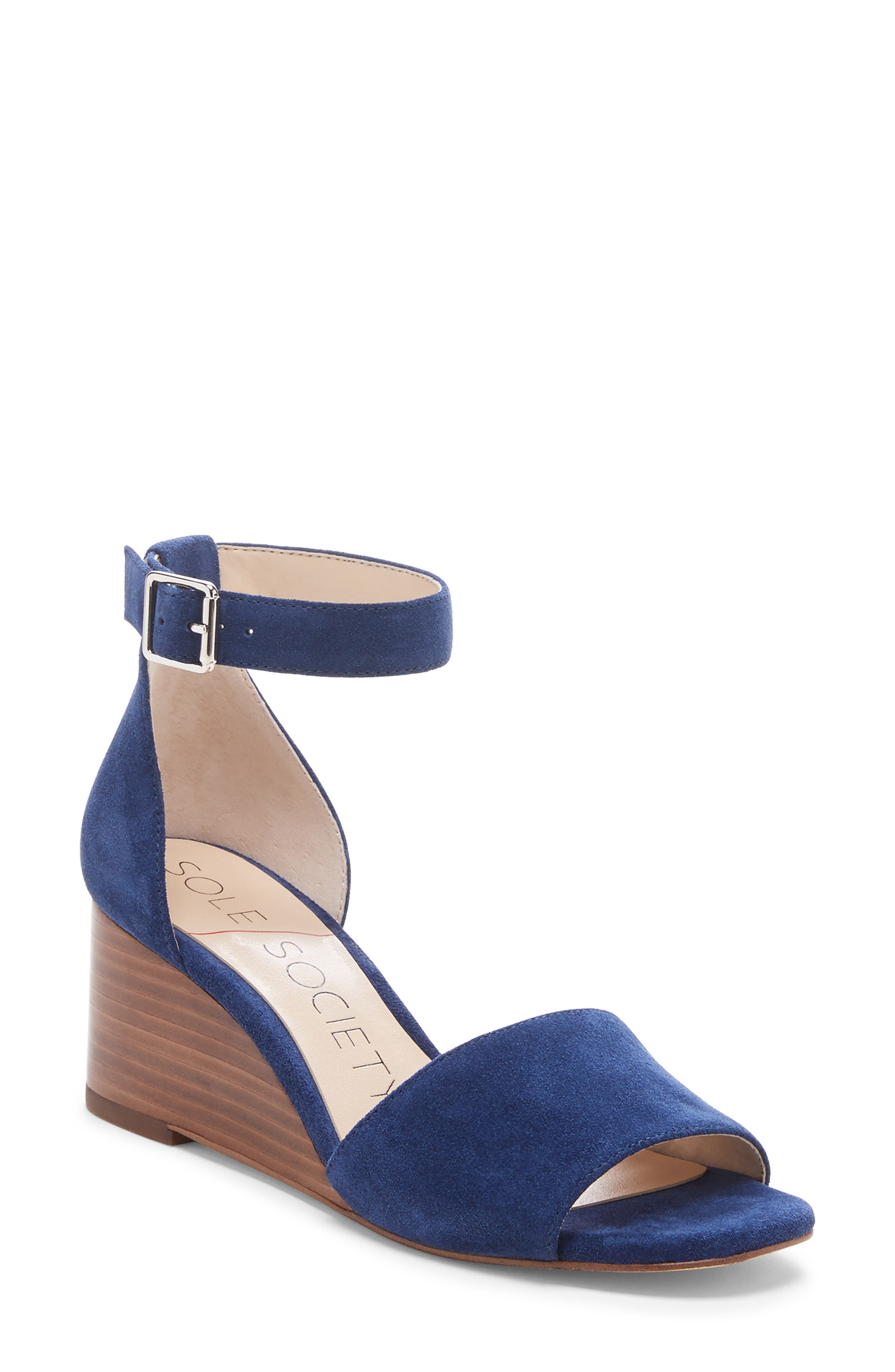 Kenia Wedge Sandal, Main, color, BLUE JEAN SUEDE