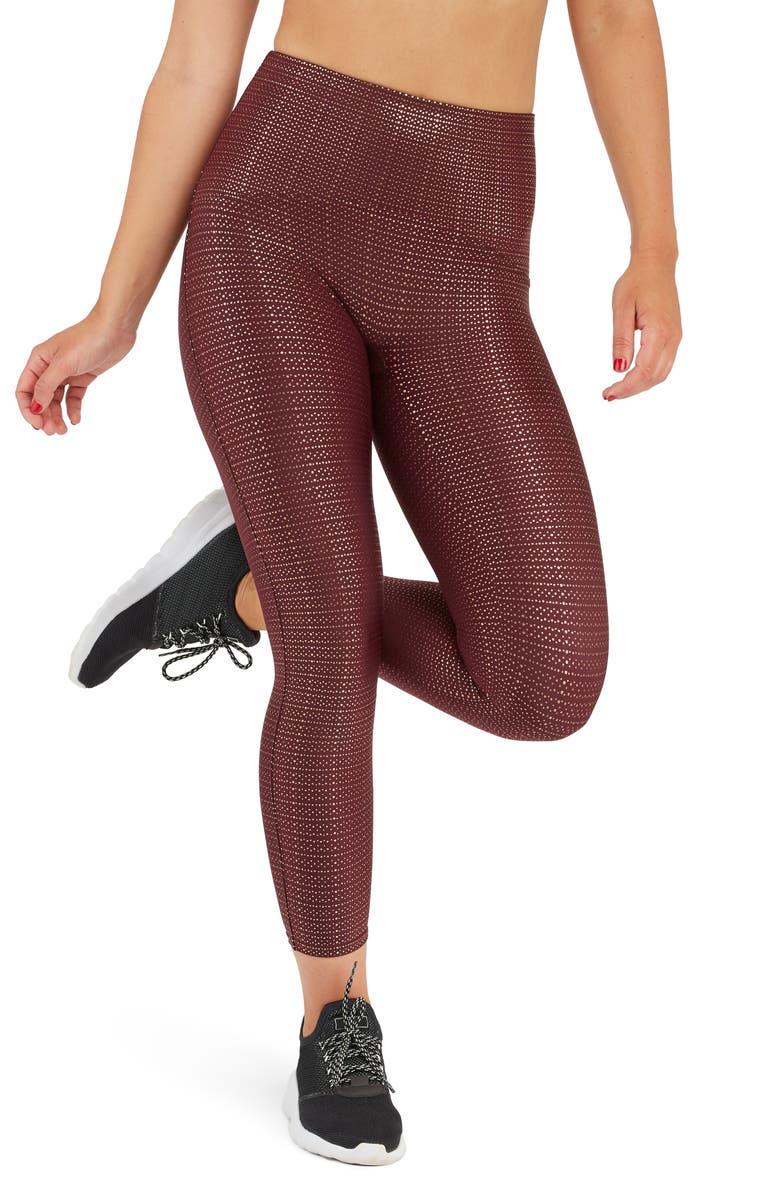 SPANX<SUP>®</SUP> Metallic Dot Print Active 7/8 Leggings, Main, color, WINE/ ROSE GOLD