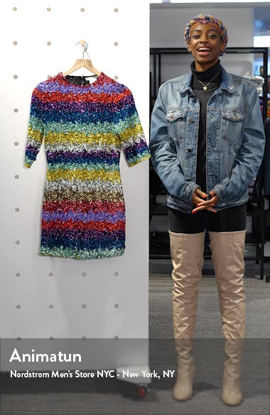 Inka Sequin Stripe Mock Neck Minidress, sales video thumbnail
