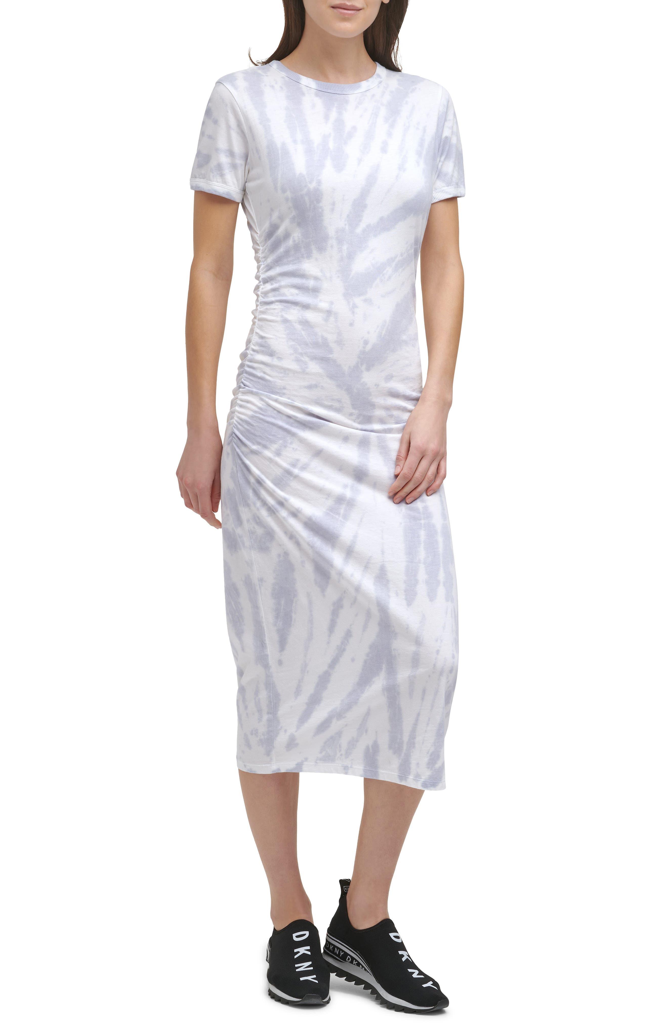 Spiral Tie Dye Ruched Waist T-Shirt Dress