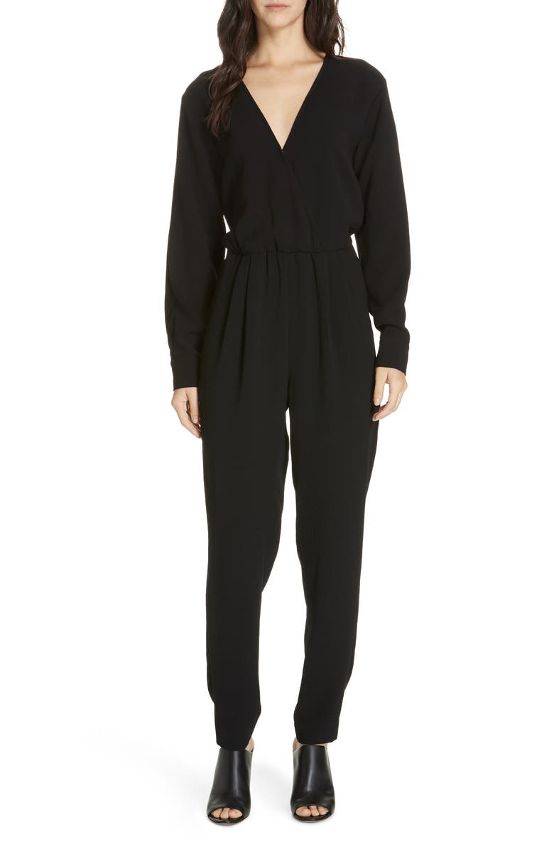 BROCHU WALKER Marino Wrap Front Jumpsuit, Main, color, 001