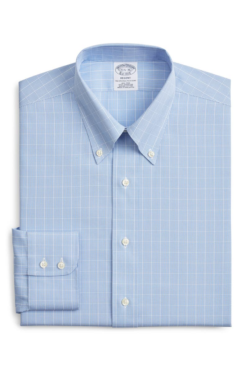 BROOKS BROTHERS Regular Fit Check Dress Shirt, Main, color, BLUE