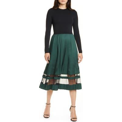 Ted Baker London Scarlah Mock Two-Piece Long Sleeve Dress, (fits like 4-6 US) - Black