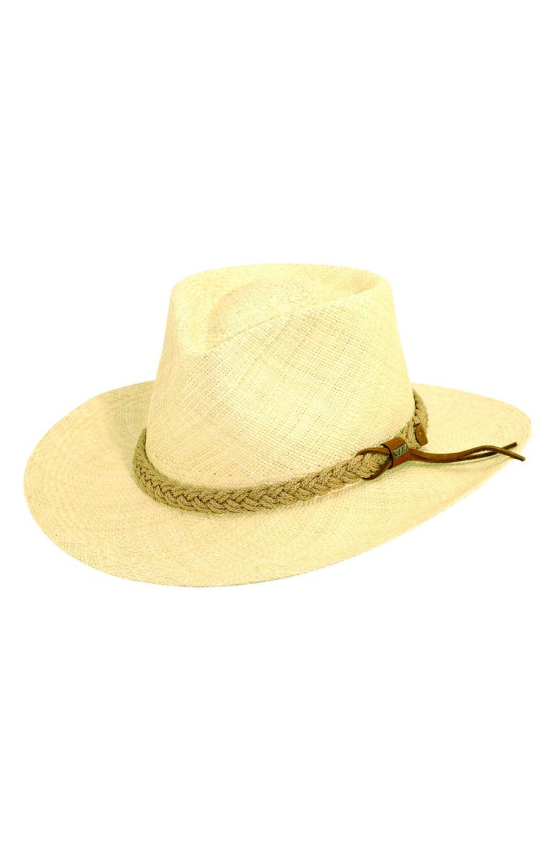 SCALA Panama Straw Outback Hat, Main, color, 109