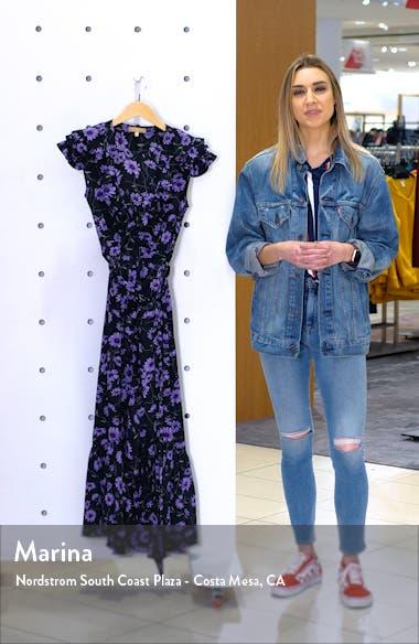 Floral Print Ruffle Wrap Dress, sales video thumbnail