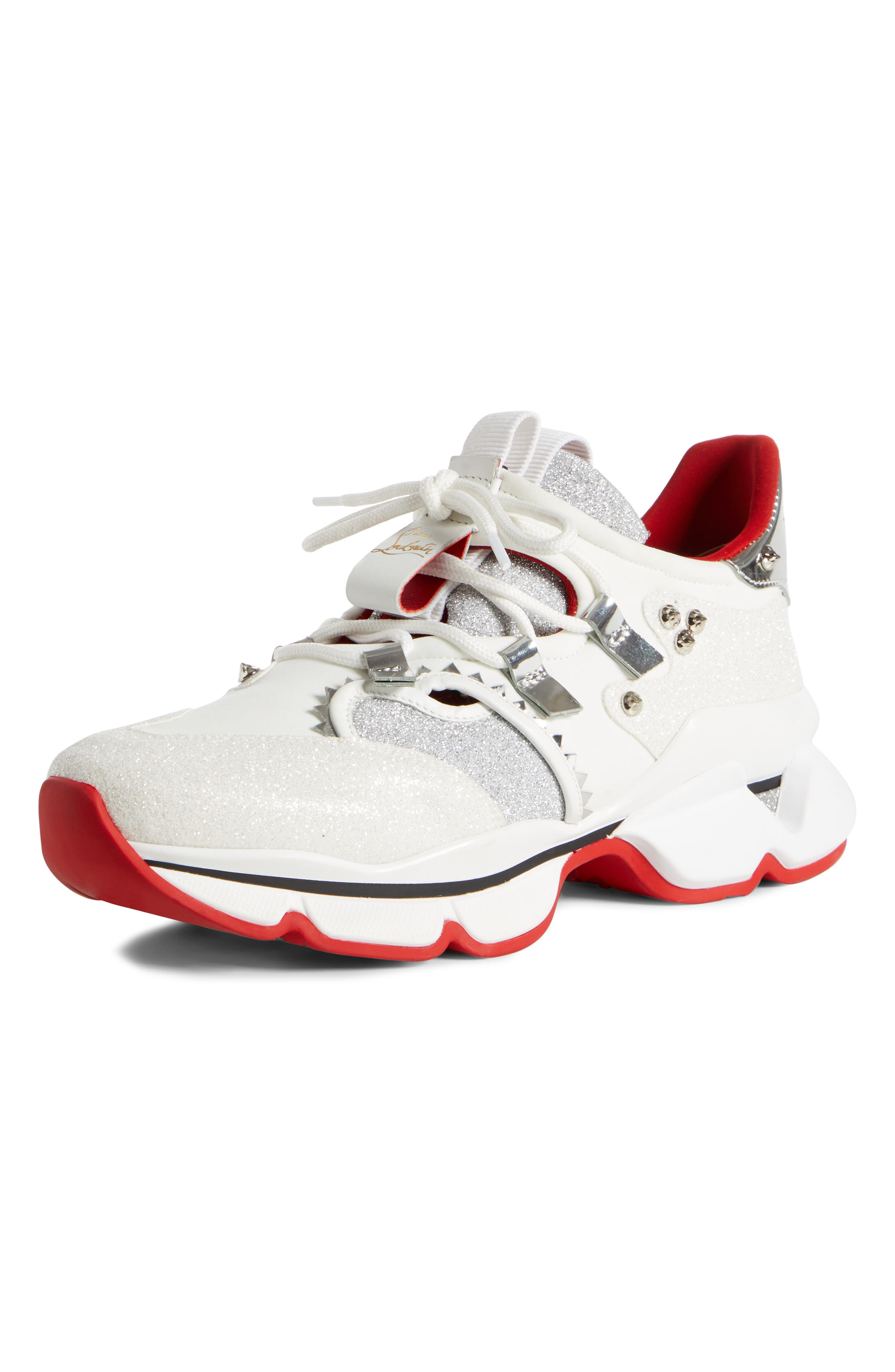 Christian Louboutin Red Runner Sneaker, White