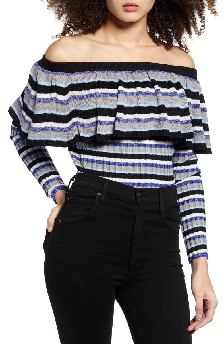 ENDLESS ROSE Stripe Off the Shoulder Sweater, Main, color, 452