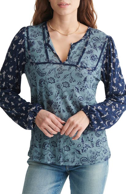 Lucky Brand FLORAL LONG SLEEVE PEASANT TOP