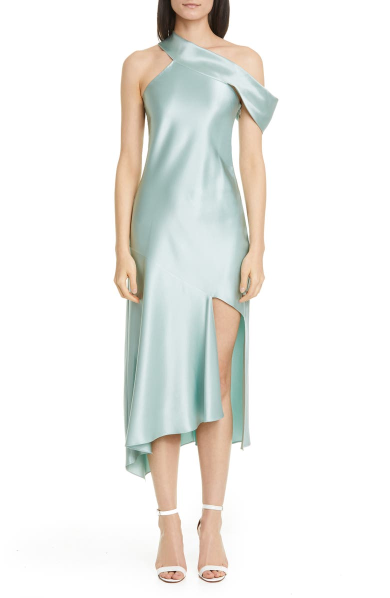 CUSHNIE One-Shoulder Silk Satin Slipdress, Main, color, SEA GREEN