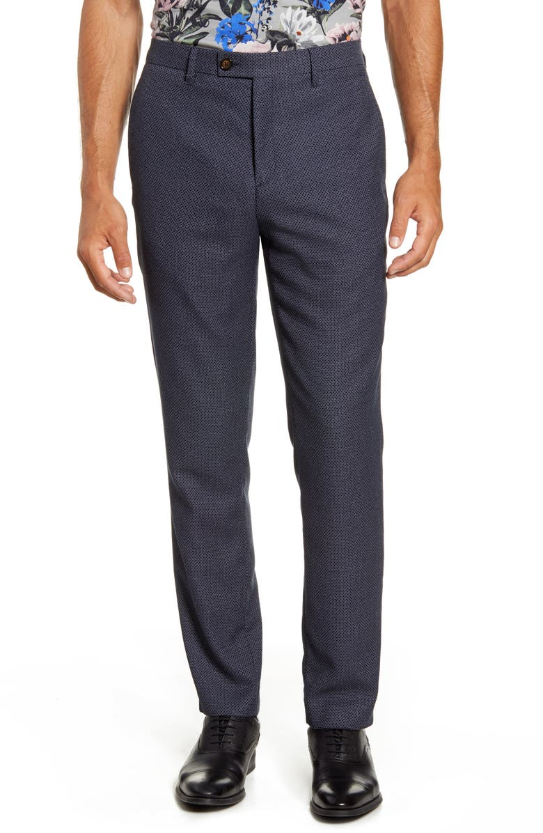 TED BAKER LONDON Slim Fit Diamond Weave Pants, Main, color, BLUE
